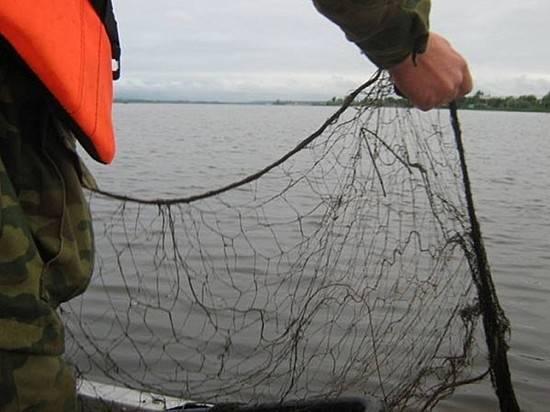 сеть для того рыбалки во  озере