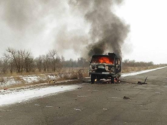 Натрассе близ Волжского зажегся «УАЗ»